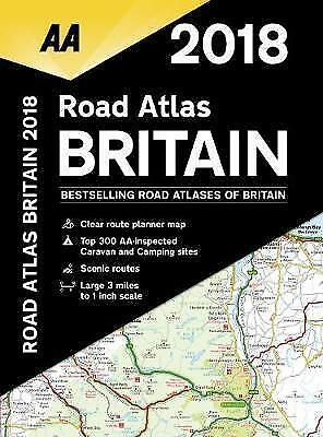 2018 AA Road Atlas Britain Spiral Bound UK Map Clear Route Planner Map BRAND NEW