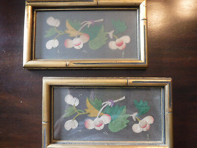 "Vtg Gilt Framed Silk Appliqued Pictures Leaves & Cherries/Berries 7x 4"" Set/2"