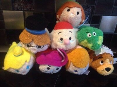 Rare Genuine Disney Store Peter Pan Mini Tsum Tsum Plush Bundle Tinker Bell Croc