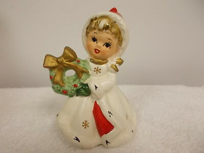 Vintage Napcoware Holiday Christmas Girl Holding Wreath Figurine X8387