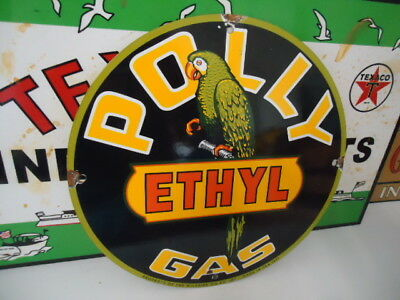Old Used Polly Gasoline Porcelain Gas Station Sign! Dated 1951
