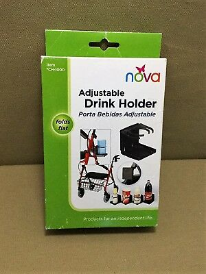 NOVA Adjustable Drink Cup Holder for Walkers-Wheelchairs (or Baby Strollers) New