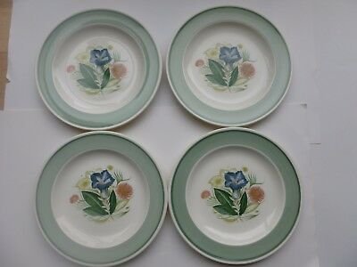 4 Vintage Susie Cooper Side Plates  - Blue Gentian Pattern with Green Border