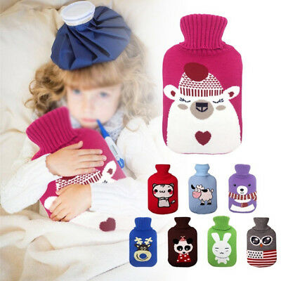 Lovely Animal 2L Washable Hot Water Bottles Knitted Covers Cosy Warm Keep Bag US