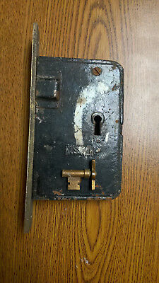 Vintage Russwin Mortise Lock Lockset with Key and Brass Front plate