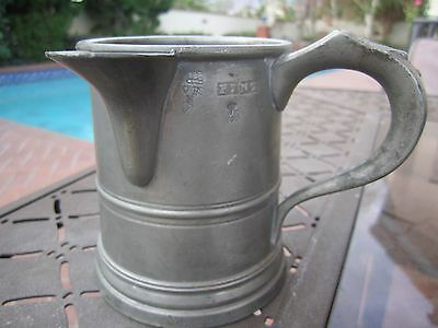 Antique Pewter Early 19Th Century English Pint Spouted Tavern Tankard-Hallmarked