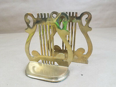 Vintage Rosenthal Netter Brass Music Musical Note Bookends Home Office Library