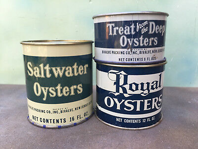 Lot of Three NJ Oyster Cans, Bivalve.