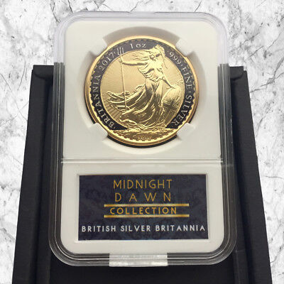 1 Oz 2017 Uk Silver Britannia Coin- 24Kt Gold & Black Midnight Dawn Collection