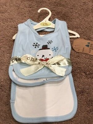~NWT CHICK PEA  Snowman & Snow Flakes Bib & Burp Cloth!