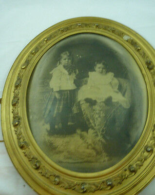 Antique Victorian Gold Gild Wood Oval Picture Frame Art Deco Style Vintage Retro