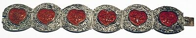 Rare Chinese Silver Filigree Bracelet Heart Shaped Carved Cinnabar Panels