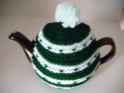 Hand Knitted Tea Cosy in two shades of green 2 fit standard 2 cup Tea Pot