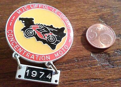 Insigne Badge concentration moto 1974 MJC Liffol-Le-Grand