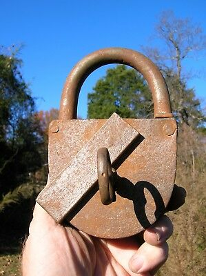 Vintage Old Large Working Rusty Padlock with Key