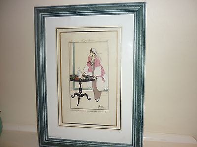 Antique French  Fashion Chrome Lithograph Etiene Drian  1913  In Wood Frame!!