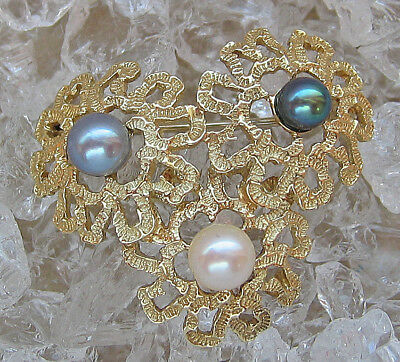WoW Effekt 📣 5,4 gr. Gold in aus 14kt 585 mit Perlen Brosche Brooch with pearls