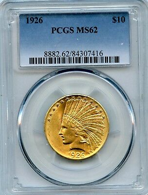 Amazing PCGS MS62 1932 Indian Head $10 Gold Eagle 90% Gold Coin Raw RR993