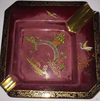Rare Carlton Ware Rouge Royale Ashtray ENGLAND Hand Painted Vintage Maroon