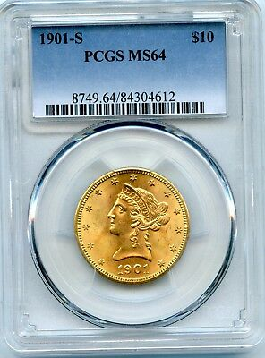 Amazing 1901-S PCGS MS 64 United States $10 Liberty Head 90% Gold Coin RR995