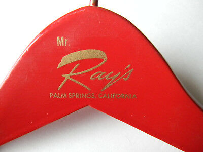 """Vintage Glossy RED Wood Suit Hanger PALM BEACH FLORIDA Lock Bar """"Mr. Ray's"""""""