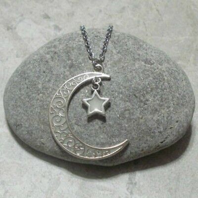 Crescent Moon And Star Pendant Necklace Jewelry Glow In The Dark