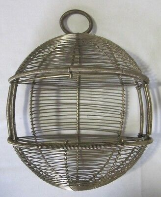 Vintage Hanging Half Round Woven Golden Wire Basket Produce Flowers Eggs