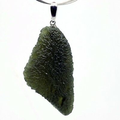 MOLDAVITE - 10.73 grams Sterling Silver Pendant - PERFECT GIFT CHRISTMASS COMING
