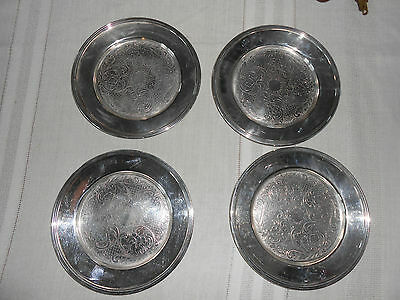 English silver mfg silver dessert plates set of 4 USA made