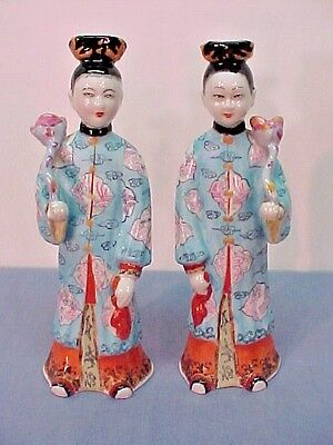 "Vintage PAIR of Chinese Porcelain Statues Man and Woman  9 1/2"" tall"