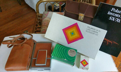 POLAROID SX-70 CAMERA - Cases, Orig. Accessory Kit - Flash, Timer, Pamphlet, etc