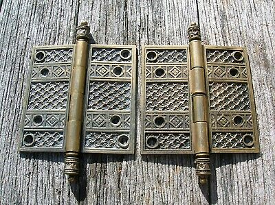 Pair of Highly Ornate Rare Vintage Antique Bronze or Brass Victorian Door Hinges