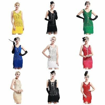 V Neck Beaded Fringed 1920s Dress Great Gatsby Flapper Dancing Party Dress New