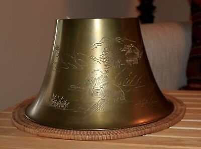 Vintage 1920's Brass Lamp Shades - Pair of Hand Etched Design and Signed