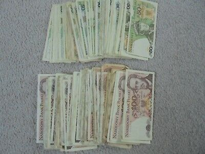 100 x 100 & 50 ZLOTYCH MASSIVE MIXED POLISH COMMUNIST LOT OF BANKNOTES.