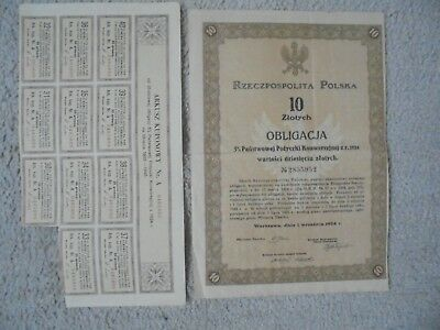 POLAND REPUBLIC BOND stock certificate 1924 10 ZLOTYCH. VERY OLD AND RARE!