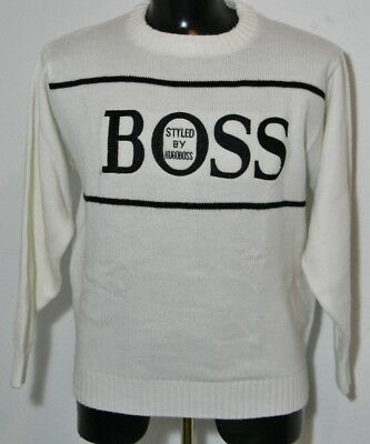 ca533644 Vintage HUGO BOSS Sports White Cream Sweater Sweatshirt Spell Out Large 90's