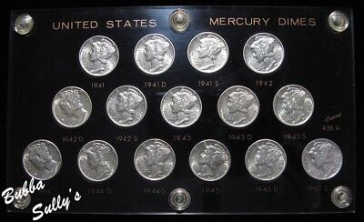 Short Set of Mercury Dimes 1941-1945 <> All ABOUT UNCIRCULATED
