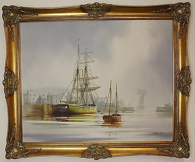 Large Gilt-Framed Oil On Canvas Painting Shipping Coastal Scene By Delaval