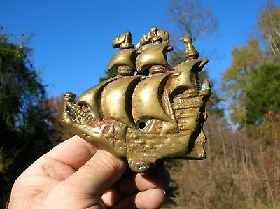 Vintage Old Heavy Antique Brass or Bronze Sailing Ship Galleon Door Knocker