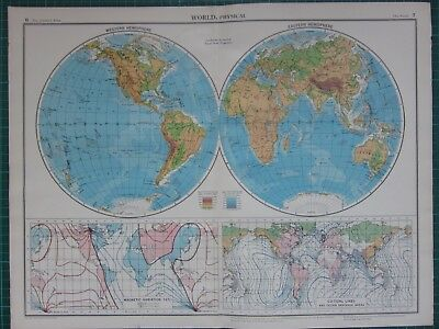 1952 Large Map ~ World Western & Eastern Hemisphere Magnetic Variation Tides