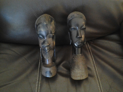 Lot of 2 African Folk Art Tribal Statue Wooden Hand Carved Bust Heads