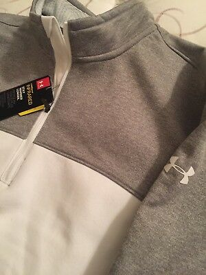 NWT UNDER ARMOUR GOLF 1/4 zip coldgear INFRARED STORMPULLOVER WHITEGRAYLARGE $89