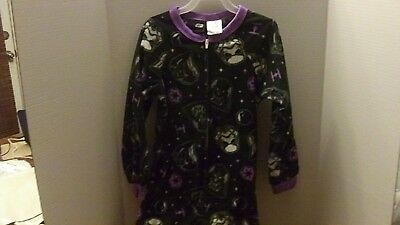 NEW GIRL'S STAR WARS 1 PIECE FLEECE PAJAMA Sleeper SIZE 6/6X DARTH BLACK PURPLE