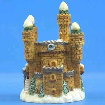 """F013B Small Winter Snow Castle Figurine Sculpture 3"""" Painted Resin New Free S/H"""