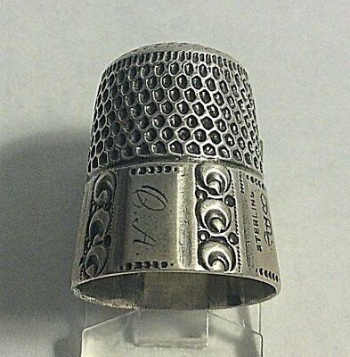 Antique Stern Bros. Sterling Silver Geometric Paneled Thimble Sewing Sz 9