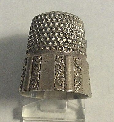 Antique Stern Bros. Sterling Silver Scrolls Paneled Thimble Sewing Sz 9