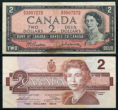 Canada $2 Notes Series 1954, 1986