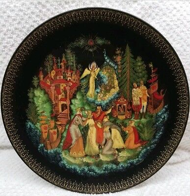4 Russian Legends Fairy Tales  Collector Plates Signed W/ Fisherman & Magic Fish