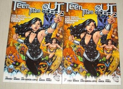 Teen Titans Outsiders The Death and Return of Donna Troy TPB Lot of 2 Paperbacks
